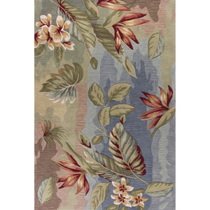 Coral Blue and Sage Rectangular: 5 Ft. x 7 Ft. 6-Inch Rug