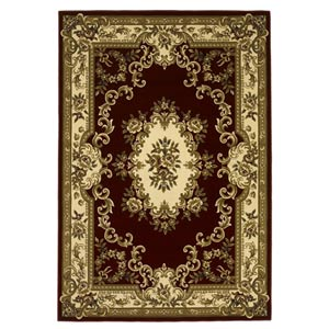 Corinthian Red/Ivory Aubusson Rectangular: 5 ft. 3 in. x 7 ft. 7 in. Rug
