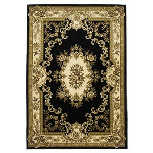 Corinthian Black/Ivory Aubusson Round: 7 ft. 7 in. Rug