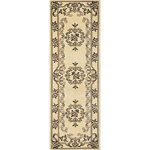 Corinthian Ivory and Blue Aubusson Runner: 2 Ft. 2 In. x 7 Ft. 11 In. Rug