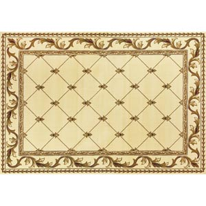 Corinthian Ivory Fleur-De-Lis Border Rectangular: 5 ft. 3 in. x 7 ft. 7 in. Rug