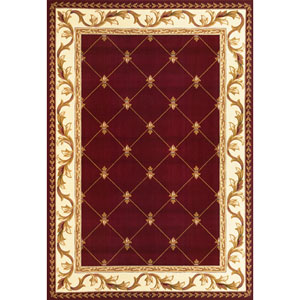Corinthian Red  Fleur-De-Lis Rectangular: 2 Ft. 3 In. x 3 Ft. 3 In.  Rug