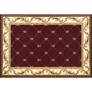 Corinthian Red Fleur-De-Lis Rectangular: 5 ft. 3 in. x 7 ft. 7 in. Rug