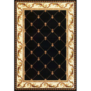 Corinthian Black  Fleur-De-Lis Rectangular: 2 Ft. 3 In. x 3 Ft. 3 In.  Rug