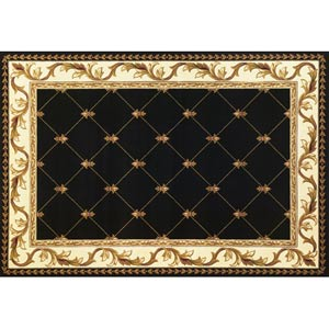 Corinthian Black Fleur-De-Lis Rectangular: 5 ft. 3 in. x 7 ft. 7 in. Rug