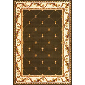 Corinthian Green  Fleur-De-Lis Rectangular: 2 Ft. 3 In. x 3 Ft. 3 In.  Rug