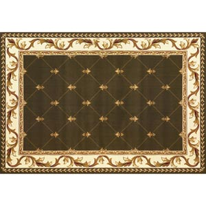 Corinthian Green Fleur-De-Lis Rectangular: 5 ft. 3 in. x 7 ft. 7 in. Rug