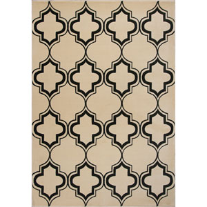 Corinthian Ivory and Black Rectangular: 20-Inch x 31-Inch Rug