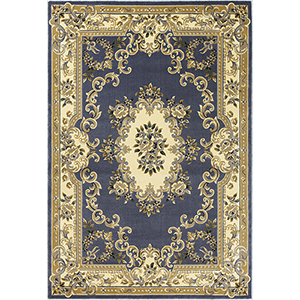Corinthian Blue Aubusson Rectangular: 20 In. x 31 In. Rug