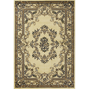 Corinthian Ivory and Blue Aubusson Rectangular: 20 In. x 31 In. Rug