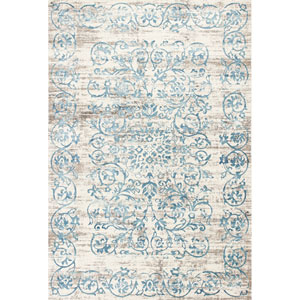 Crete Ivory and Blue Rectangular: 3 Ft. 3-Inch x 4 Ft. 7-Inch Rug