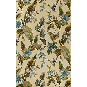 Catalina Ivory and Teal Botanics Rectangular: 30 In. x 50 In. Rug
