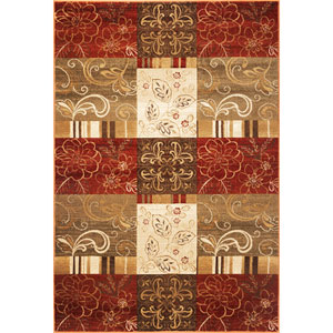 Geneva Sienna Floral Panes Rectangular: 5 Ft. 3 In. x 7 Ft. 8 In.  Rug