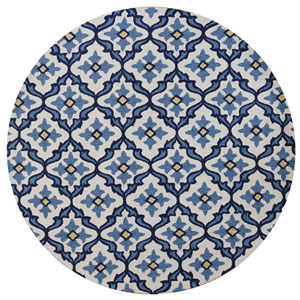 Harbor Ivory and Blue Round: 7 Ft. 6-Inch Rug