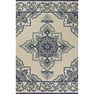 Harbor Ivory and Blue Serafina Round: 7 Ft. 6 In. Rug