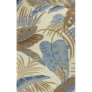 Havana Ivory and Blue Rainforest Runner: 2 Ft. 3 In. x 8 Ft. Rug
