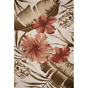 Horizon Ivory Hibiscus Rectangular: 5 Ft. 3 In. x 7 Ft. 7 In.  Rug