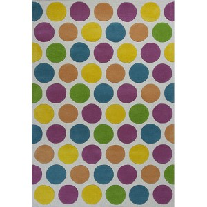 Kidding Around Multi-Colored Chic Lotsa Dots Rectangular: 2 Ft. x 3 Ft. Rug