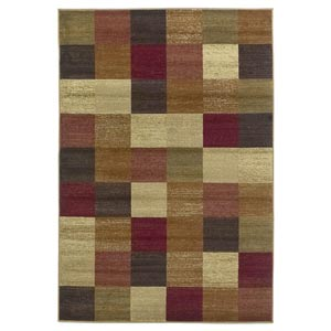 Lifestyles Beige Squares Rectangular: 5 ft. 3 in. x 7 ft. 7 in. Rug