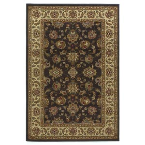 Lifestyles Mocha/Ivory Kashan Rectangular: 5 ft. 3 in. x 7 ft. 7 in. Rug