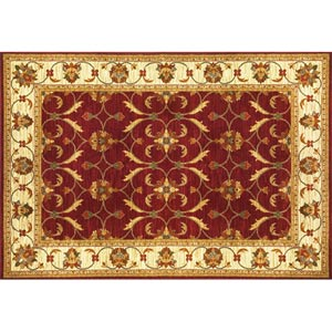 Lifestyles Red/Ivory Agra Rectangular: 5 ft. 3 in. x 7 ft. 7 in. Rug