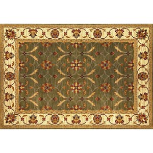 Lifestyles Green/Ivory Agra Rectangular: 5 ft. 3 in. x 7 ft. 7 in. Rug
