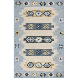 Lisbon Ivory and Blue Laguna Rectangular: 3 Ft. 3 In. x 5 Ft. 3 In. Rug