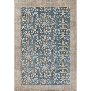 Libby Langdon Winston Teal Looking Glass Rectangular: 5 Ft. 3 In. x 7 Ft. 7 In. Rug