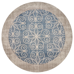 Libby Langdon Winston Teal Looking Glass Round: 6 Ft. 6 In. Rug