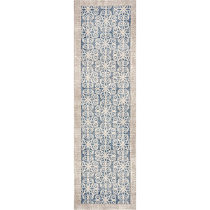 Libby Langdon Winston Teal Looking Glass Runner: 2 Ft. 2 In. x 7 Ft. 6 In. Rug