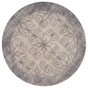 Libby Langdon Winston Greige Looking Glass Round: 6 Ft. 6 In. Rug
