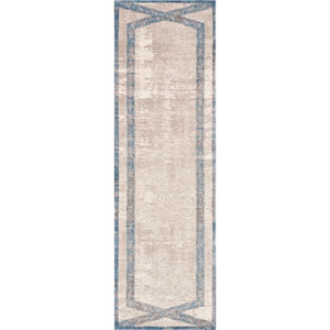 Libby Langdon Winston Tan and Teal Target Overlay Runner: 2 Ft. 2 In. x 7 Ft. 6 In. Rug