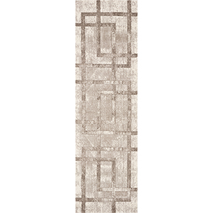 Libby Langdon Winston Cream Block Border Runner: 2 Ft. 2 In. x 7 Ft. 6 In. Rug