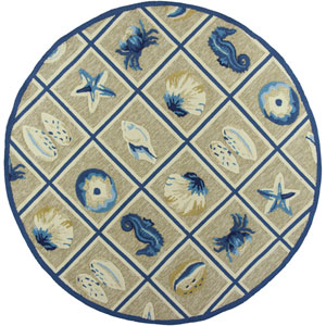 Meridian Beige and Blue Round: 7 Ft. 6-Inch Rug