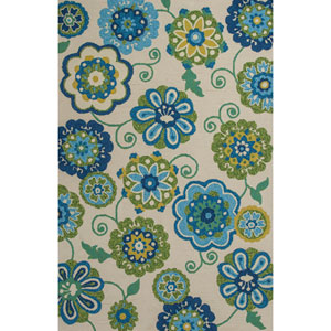 Meridian Ivory and Blue Rectangular: 3 Ft. 3-Inch x 5 Ft. 3-Inch Rug