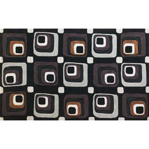 Milan Charcoal Squares Rectangular: 5 ft. x 7 ft. 6 in. Rug