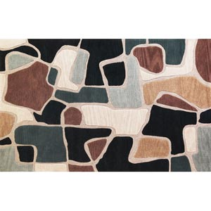 Milan Beige/Blue Bedrock Rectangular: 5 ft. x 7 ft. 6 in. Rug