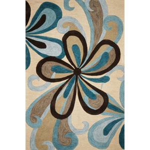 Milan Sand/Teal Groove Rectangular: 5 Ft. x 7 Ft. 6 In.  Rug