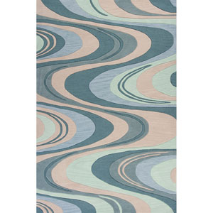 Milan Beige and Seafoam Waves Rectangular: 3 Ft. 3 In. x 5 Ft. 3 In. Rug