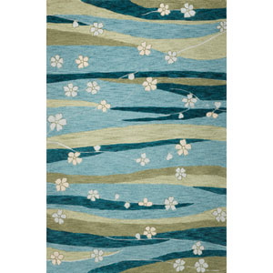 Milan Blue/Green Springtime Rectangular: 5 Ft. x 7 Ft. 6 In.  Rug