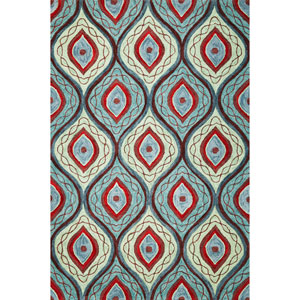 Milan Teal/Lime Groove Rectangular: 5 Ft. x 7 Ft. 6 In.  Rug