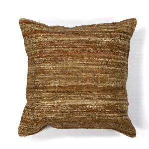 Beige Viscose 18-Inch Decorative Pillow