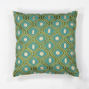 Teal and Gold Gramercy 18-Inch Decorative Pillow
