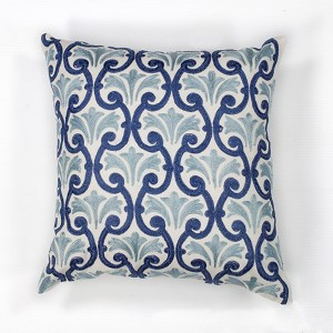Ivory and Blue Chateaux 18-Inch Decorative Pillow