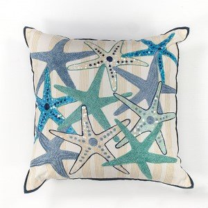 Ivory and Blue Starfish Gala 18-Inch Decorative Pillow