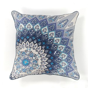Blue and White Starburst 18-Inch Decorative Pillow