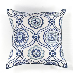 Ivory and Blue Mosaic 18-Inch Decorative Pillow