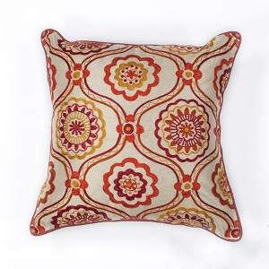 Ivory and Red Mosaic 18-Inch Decorative Pillow