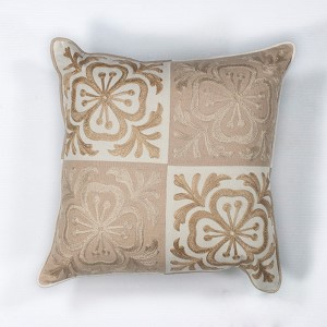 Beige and Ivory Damask 18-Inch Decorative Pillow
