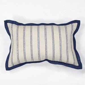 Ivory and Blue Nautical Stripes 12 x 20-Inch Rectangular Decorative Pillow